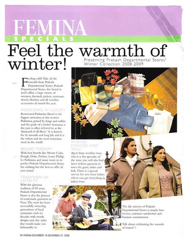 Prakash Departmental Stores - Article On Femina Specials (2008), Jackets For Men, Jackets For Women