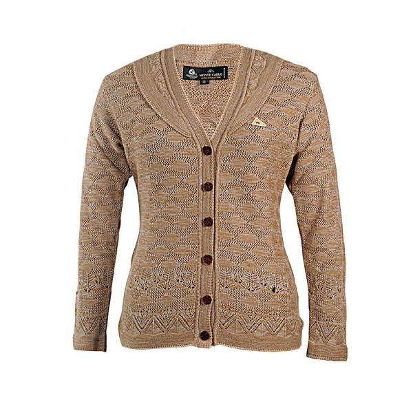 Monte Carlo. V,neck light brown cardigan.